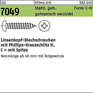 C-H 100 Linsenkopf Blechschrauben ISO 7049 verzinkt 6,3x16