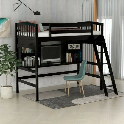 Student Loft Bed Frame With Desk For Kids Teens Adults Full Size
