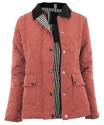 Ladies Size 14-20 New Pink Quilted Jacket Coat Zip Poppers Corduroy Collar