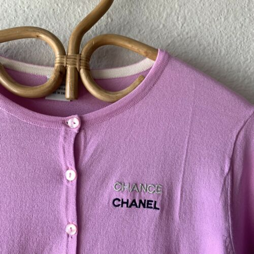 Chanel Chance Parfums Lilac Cardigan Sweater Staff