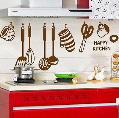 Happy Kitchen Glove Whisk Spoon Scissors Wall Sticker Decal Vinyl Home Decor