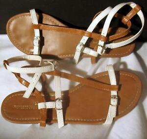 Vintage-Montego-Bay-Club-Sandals-Beach-Shoes-Flats-Size-9-US-White-amp-Tan-Casual