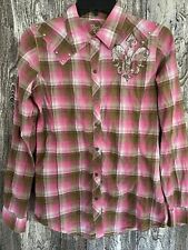 Rock 47 By Wrangler Womens Pink Plaid Shirt With Silver Dazzling Buttons Sizes