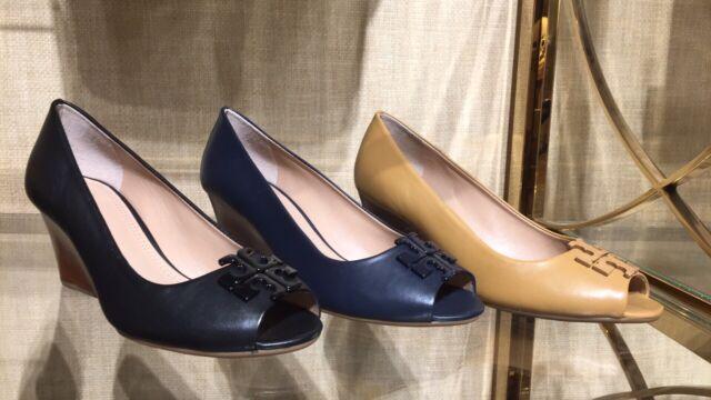 ef8f40b9ec5 NIB Tory Burch Lowell II Leather Peep Toe Wedge Pump Shoes 👠65mm BLOND  Size 7.5