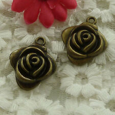 free ship 90 pieces bronze plated flower charms 26x24mm #2834