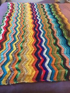 Afghan Blanket Very Warm Reversible Crochet Multi Color