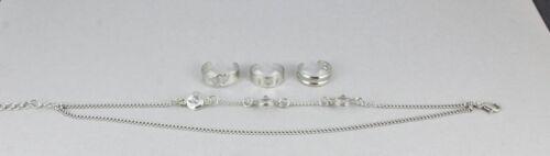 Silver anklet toe ring 4-pc set clear crystal 2-strand adjustable ankle bracelet