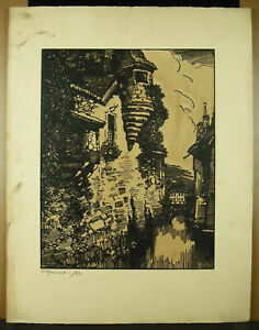 Stone-Reynaud-1881-1943-Landscape-of-Roanne-Wood-Original-c1930-Signed-Framed