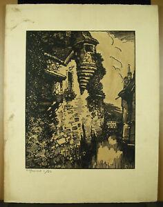 Stone-Reynaud-1881-1943-Landscape-Of-Roanne-Wood-Original-c1930-Hand-Signed