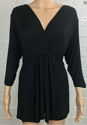 New Look Black Smart Stretch V-Neck Drape Empire Tunic Top 20 22 *NEW*