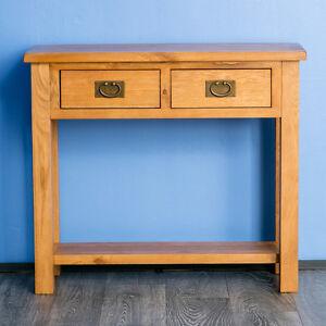 Surrey-Oak-Hall-Table-Tavolo-console-in-legno-massello-tavolo-laterale-con-cassetti-NUOVO