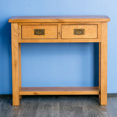 Surrey Oak Console Table Solid Wood Side Hall Telephone 2 Storage Drawers - Solid Oak Side Table With Drawers