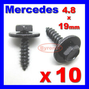 MERCEDES-SELF-TAPPING-TAPPER-SCREW-amp-WASHER-4-8-x-19-mm-BLACK-8mm-HEX-HEAD
