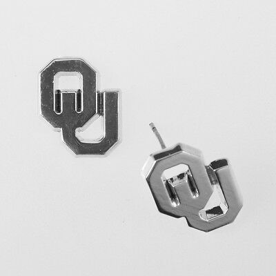 UNIVERSITY of OKLAHOMA SILVER OU Logo CHARM POST STUD EARRINGS Sooners jewelry