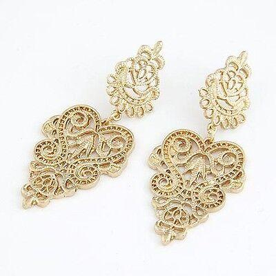 Black Filigree Lace Leaf Pattern Statement Dangle Drop Fashion Costume Earrings