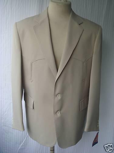 40L New  Herren Western Wear Sport Coat  Bone 100%Poly Gab