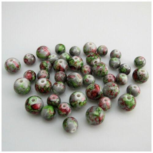 Nouveau 8 mm 10 mm Vert//Gris Fleur Peint Acrylique Rond Perles Pour Fabrication de Bijoux