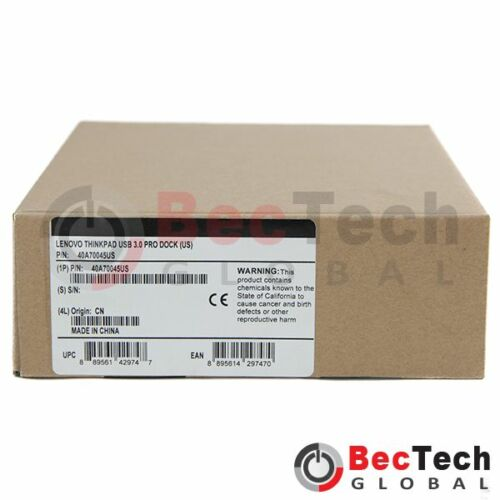 40A70045US NEW Lenovo ThinkPad USB 3.0 Pro Dock Notebook Docking Station P//N