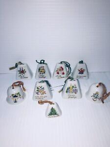 Vintage-Mini-Porcelain-Ceramic-Bell-Christmas-Ornaments-Lot-Of-9-Assorted