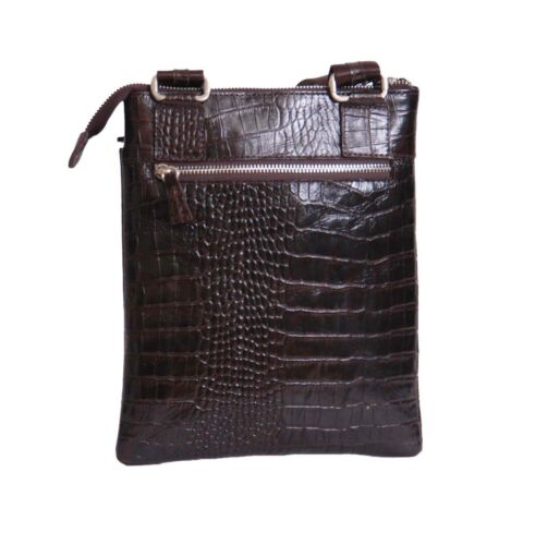 New Bag Tablet Unisex Leather Real Ipad Croc Crossbody Print Messenger Brown wIrIYq