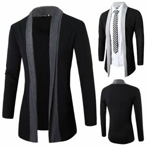 Luxury-Men-039-s-Casual-Slim-Fit-Long-Sleeve-Knitted-Cardigan-Pocket-Trench-Coat-New