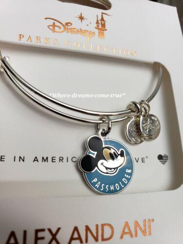 Disney Parks Alex /& Ani Mickey Mouse Annual Passholder Charm Silver Bracelet NEW