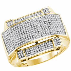 10k Gelbgold Herren Rund Diamant Gebogen Rechteckig Haufen Ring 5/8 Online Shop