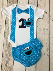 Details About 12 18 Mths Boys Cookie Monster Cake Smash Outfit First Birthday Handmade Photo