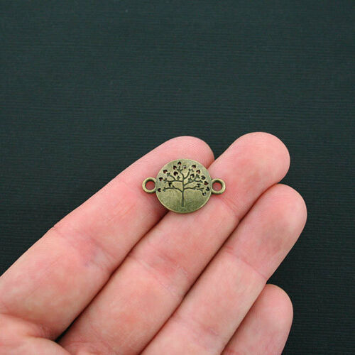 BC1273 8 Tree of Life Connector Charms Antique Bronze Tone