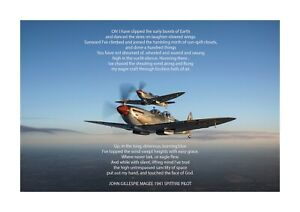 Details About Supermarine Spitfire With Poem By John Gillespie Magee A4 Poster Choice Of Frame
