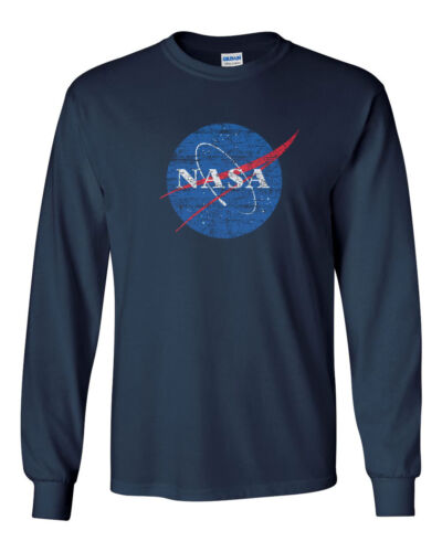 Nasa Distressed Custom Mens Long Sleeve T-Shirt Tee New-Navy