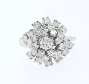 Vintage-14k-White-Gold-1-90ct-Round-Diamond-Cluster-Cocktail-Ring-Size-6-25