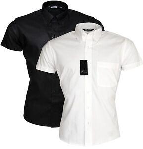 Relco Men/'s Black Oxford Short Sleeve 100/% Cotton Button Down Collar Shirt