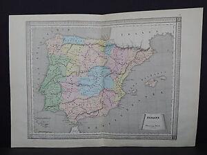 Antique Maps, French Atlas, c. 1870, Hand Color, Spain S26