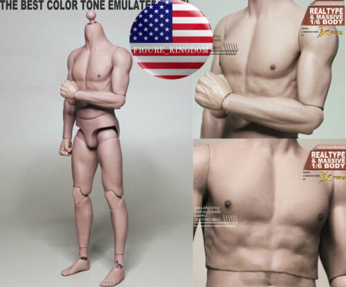 "1//6 Scale Emulated Male Muscular Body JXToys JXS01 NARROW SHOULDER 12/"" Figure"