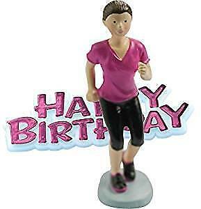 Female Runner Shaped Resin Cake Topper & Happy Birthday ...