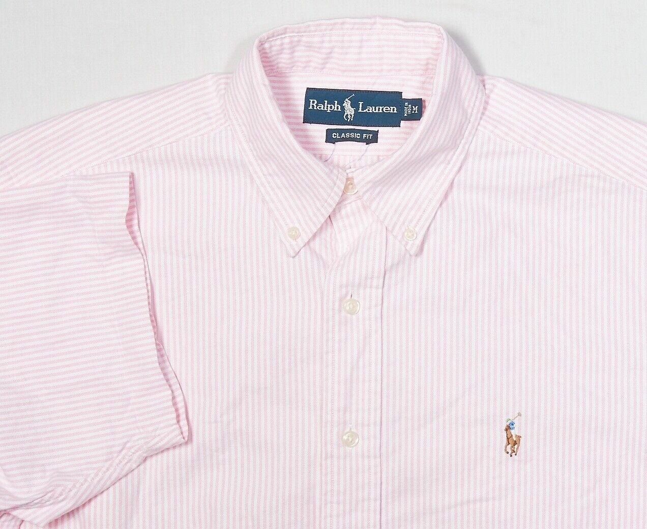 4cdf49583 Mens POLO LAUREN Button-Down Shirt M Classic Pink Stripe SS University  RALPH nofbae1161-Casual Button-Down Shirts