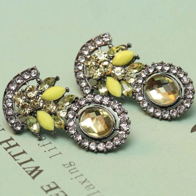 New design women gorgeous bib statement  mixed crystal long 38mm Earrings e270