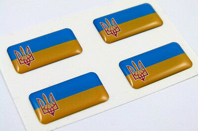 "Ukraine mini domed decals set of 4 emblems 1"" x 0.5"" Ukrainian stickers Car bike"