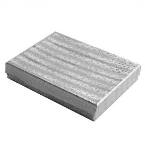 25 pcs Silver Foil Cotton Filled Jewelry Gift Boxes With Variety Of Sizes