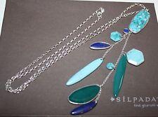 "Silpada~""Go Geo"" Sterling Silver & Multi-Stone Necklace 28"" long~N2858"