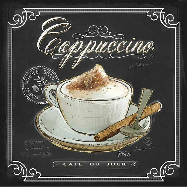 Chad Barrett  Coffee House Cappuccino Keilrahmen-Bild Leinwand Kaffee Küche