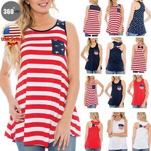 5da88364aea28 Women s Summer Beach American Flag 4th of July Tank Top Sleeveless ...