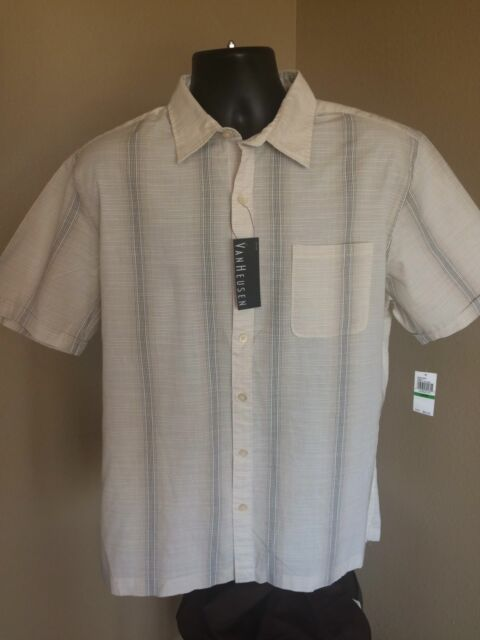 7777ff7fd82 New Van Heusen Mens Shirt Sz L 16-16 1 2 Button Front Short Sleeve ...