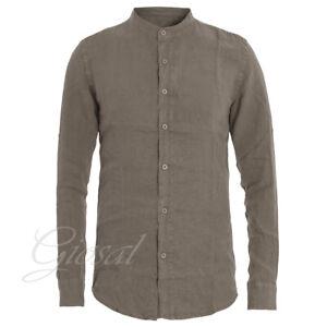 Camicia-Uomo-Collo-Coreano-Tinta-Unita-Fango-Lino-Maniche-Lunghe-Casual-GIOSAL