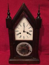 Antique American Steeple Gothic Walnut Victorian Mantle Clock Fancy Case