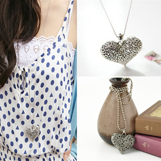 Lady Pretty Carved Heart Flower Long Chain Silver Tone Pendant Necklace EY996