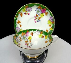 STANLEY-CHINA-ENGLAND-GREEN-BAND-FLORAL-GILDED-2-1-8-034-CUP-AND-SAUCER-1949-1953
