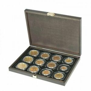 Lindner S2489-12 Echtholzkassette CARUS XM mit 12 quadratischen Fächern für Münz