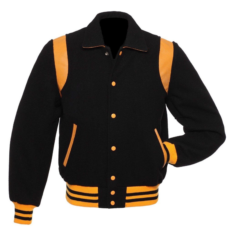 Negro chaqueta  de Letterman Béisbol del equipo universitario con cuello estilo Retro amarillooro de Cuero Real  tienda de ventas outlet